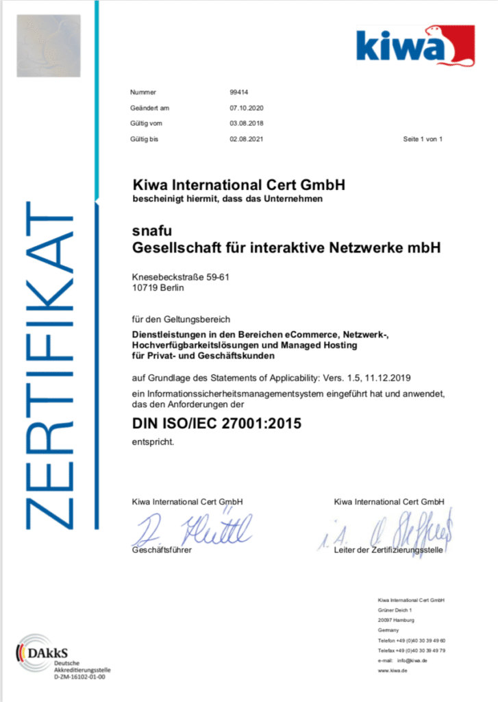 snafu-ISO 27001 Zertifikat